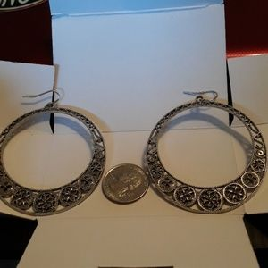 Large intricate circle dangle earrings
